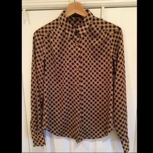 Ann Taylor Gold Navy Polka Dot Blouse